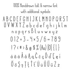 Vector tall & narrow sketched handdrawn font with additional symbols