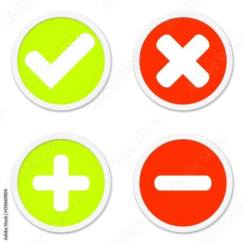 4 Buttons: Zustimmung Ablehnung Plus Minus\