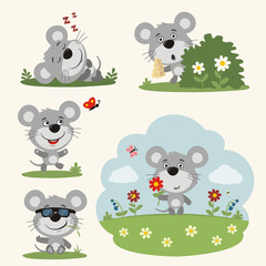 Vector set funny mouse in different poses on summer meadow with flowers. Collection little mouse in cartoon style.