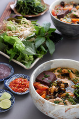Vietnamese food, bun rieu and canh bun