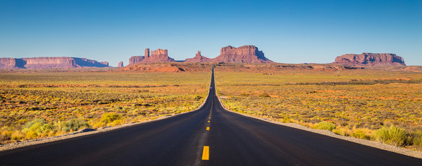Monument Valley with U.S. Highway 163 at sunset, Utah, USA Wall mural