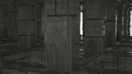 Abstract industrial concrete space with columns, 3 d render