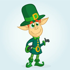 Cartoon Leprechaun. Vector illustration of  Leprechaun character presenting. St Patrick's Day mascot