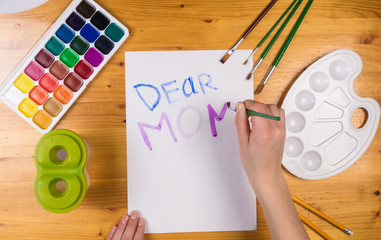 Kid draw greeting card for mothers day, empty space for text