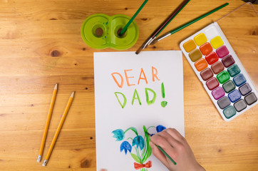 Kid draw greeting card for fathers day