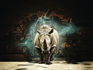 Photo sur Aluminium Rhino rhino destroy brick wall 3d rendering image