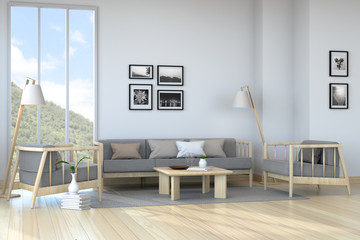Minimalist room interior, dark gray sofa on wood flooring and white wall  /3d render