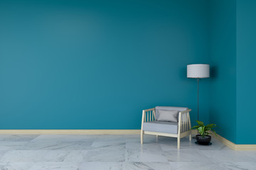 Minimalist room interior, gray armchair on marble flooring and dark green wall  /3d render