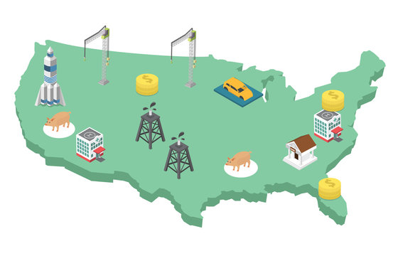 Economy of USA vector illustration. USA map with industry and business isometric icons