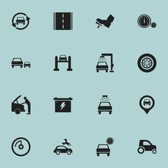 Set Of 16 Editable Car Icons. Includes Symbols Such As Race, Highway, Vehicle Car And More. Can Be Used For Web, Mobile, UI And Infographic Design.