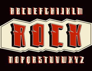Decorative sanserif font in hard rock style