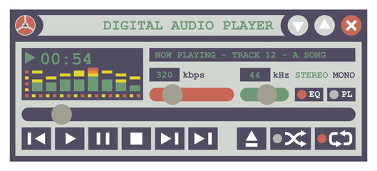 Flat Design Vector Illustration Of An Audio Player Software