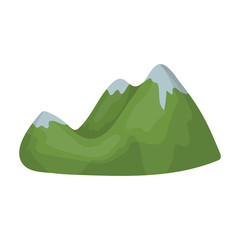 Green mountains.Mountain range covered with dense forest.Different mountains single icon in cartoon style vector symbol stock illustration.