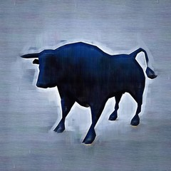 Abstract bull. Drawing style. Digital colorful illustration.