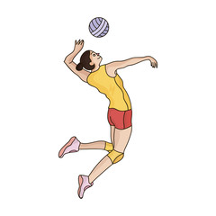 High athlete plays volleyball.The player throws the ball in.Olympic sports single icon in cartoon style vector symbol stock illustration.