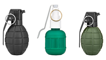 three hand grenade isolated on white background