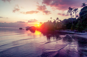 beautiful sunset on the sea, wallpaper, holiday, beach holiday