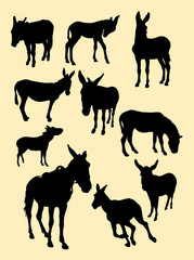 Donkeys silhouette. Good use for symbol, logo, web icon, mascot, sign, or any design you want.