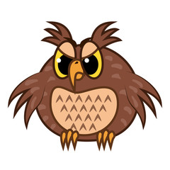 Isolated Emoji character cartoon angry owl. Vector Illustrations