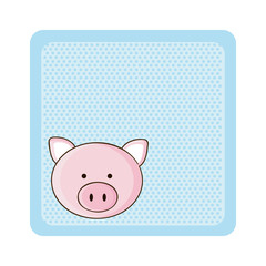 colorful greeting card with picture pig animal vector illustration