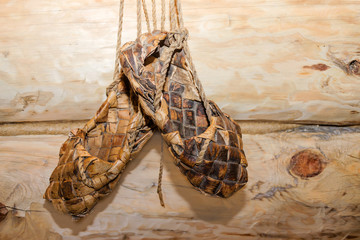 Woven from the bark of the wooden shoe. Russian sandals