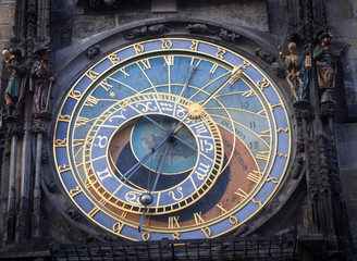 Astronomical Clock in Prague at the Old Town City Hall.