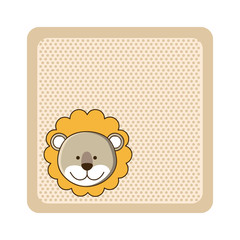 colorful greeting card with picture lion animal vector illustration