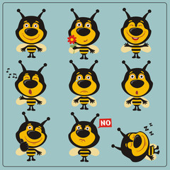 Funny little bee set in different poses. Collection isolated bee in cartoon style.