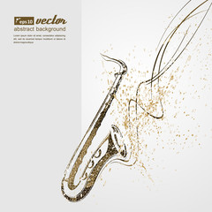 Music. Notes, lines, saxophone.