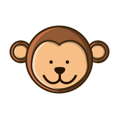 colorful picture face cute monkey animal vector illustration