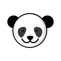 colorful picture face cute panda animal vector illustration