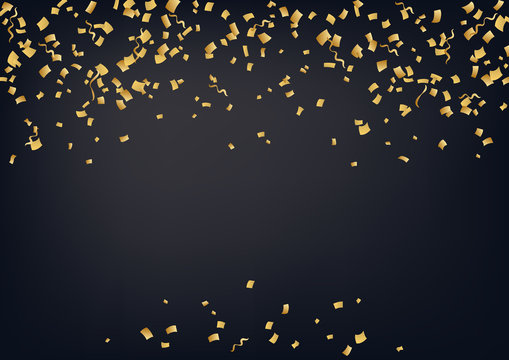 Bright vector golden confetti background. Confetti and serpentine splash isolated on black night background. Сarnival, celebration, opening, birthday premium design. Night party.