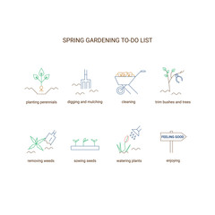 Spring gardening to do list. Garden clean up checklist with planting perennials, digging and mulching, cleaning, trim bushes and trees, sowing seeds, removing weeds, watering plants . Vector line icon