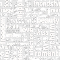 Words collage seamless background. Woman's important feelings, wishes and thoughts theme. Grey colors. Vector illustration.
