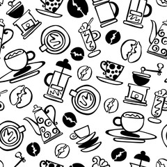 Coffee background. Coffee. Set. Coffee and coffee cup. Seamless vector pattern (background).