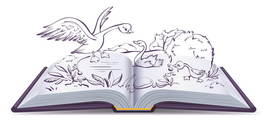 Illustration open book fairy tale of ugly duckling