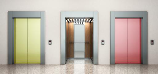 modern color steel elevatore Right way concept 3d rendering illustration