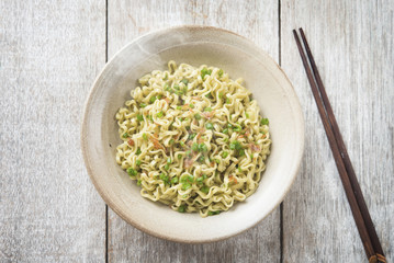 Asian Japanese dried ramen noodles  top view