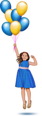 little girl with balloons