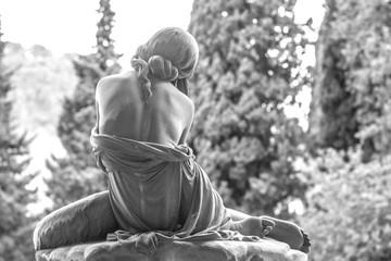 Genoa (Genova), Italy - February 22, 2017: A woman statue located in the cemetery of Genova Staglieno