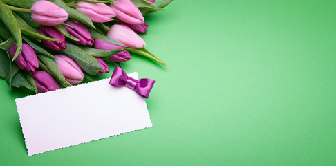 Beautiful tulips and greeting card