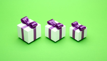 Gifts for the holidays on a green background