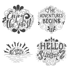 Summer Hand drawn lettering, typography inscription Adventures begins