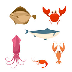 Sea food cartoon icon set. crab lobster shrimp squid