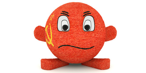 Plush toy ball, flag of the USSR isolated on white