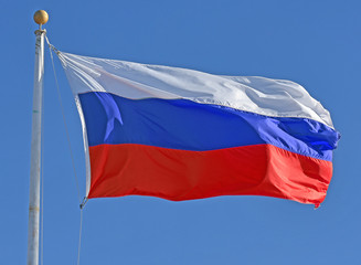 Wall Mural - Russian Flag flying in a brisk breeze.