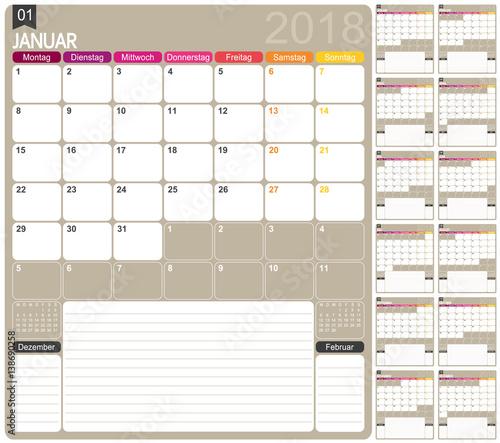 Calendar 2018 German Calendar Template For Year 2018 Set Of 12