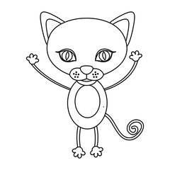 silhouette picture cute cat animal vector illustration
