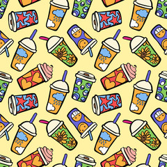 Coffee. Paper cups. Seamless vector pattern (background).