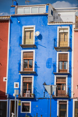 Traditional colorful facades in Villajoyosa in Spain